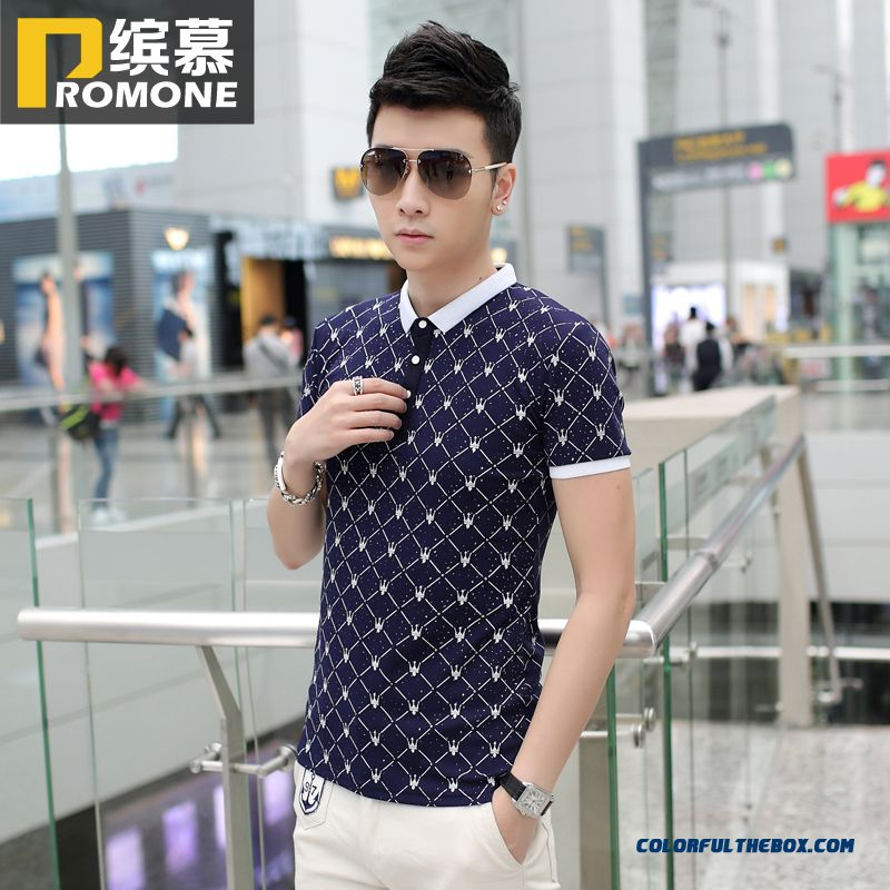 Summer New Men's Short-sleeved Tees Slim Young Comfortable Luxury