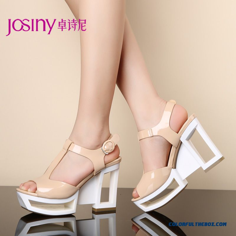 Summer New Open-toed Sandals With Super High Heels Waterproof Women Shoes With Hollow Heel