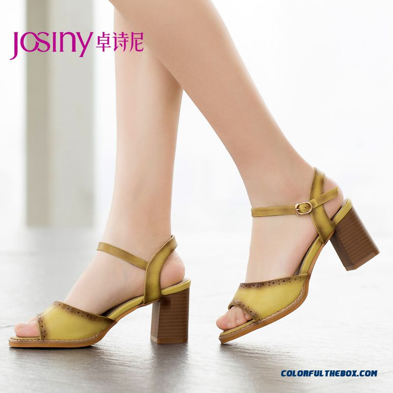 Summer New Spell Color Buckle High-heeled Open-toed Sandals With Rough Heel Women Shoes - more images 1