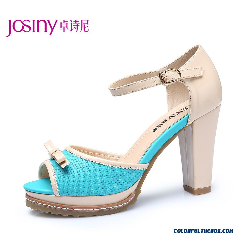 Summer New Sweet Bow-tie Simple High-heeled Sandals Spell Color