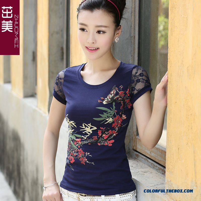 Summer New T-shirt Women Lace Short-sleeved Large Size Comfortable