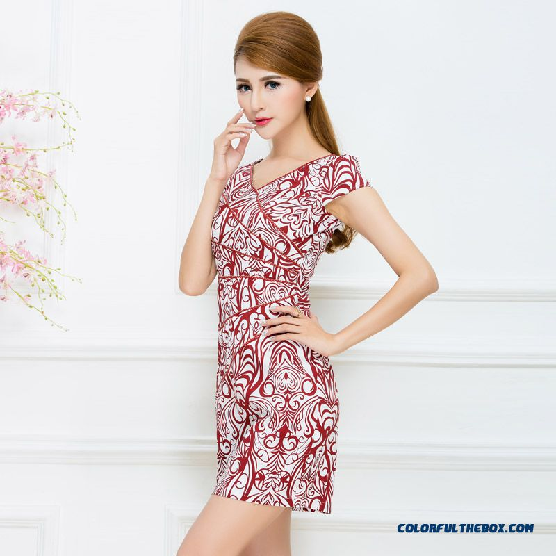 Summer New V-neck Dress Ethnic Style For Women
