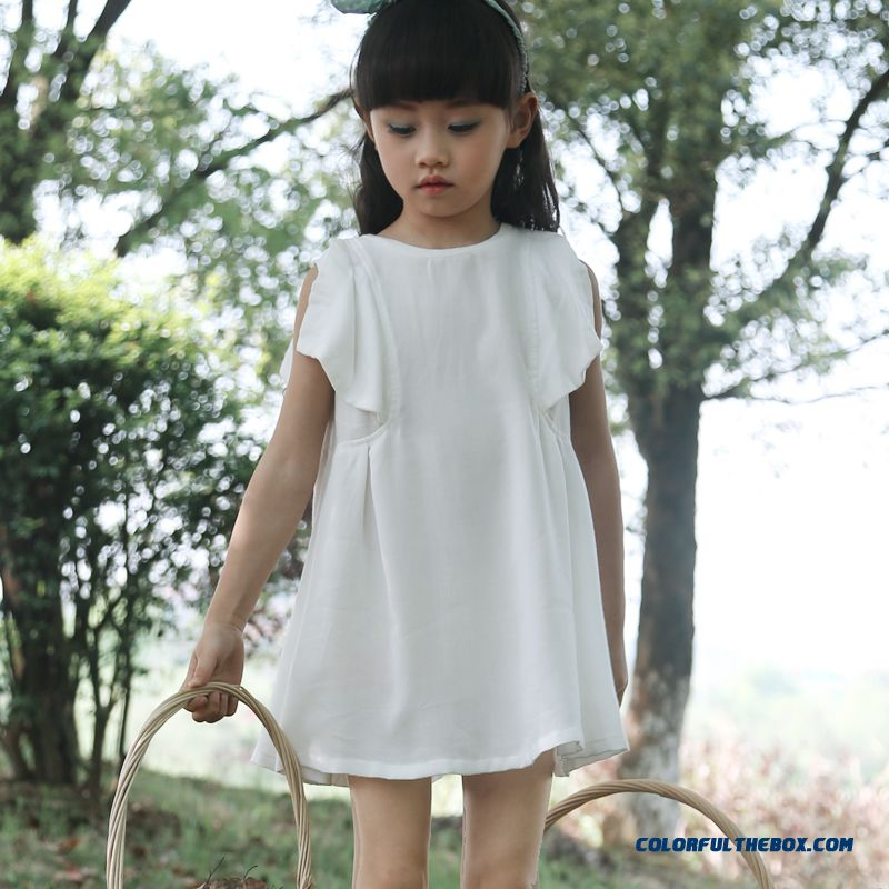 Summer New Vintage Solid Color Lotus Sleeve Kids Dress Comfortable Three Color Options