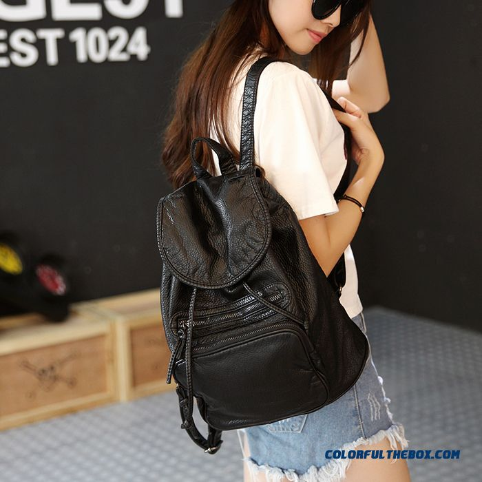 Summer New Washed Leather College Style Casual Backpack Schoolbags Fashion  Women Bag Black And White ... 9e8dc0f3bfc0b