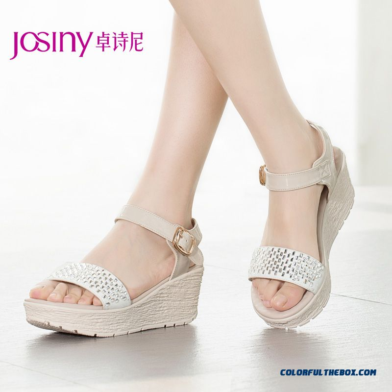 Summer New Wedge Heel Open-toed High-heeled Sandals Women Rhinestones Graceful