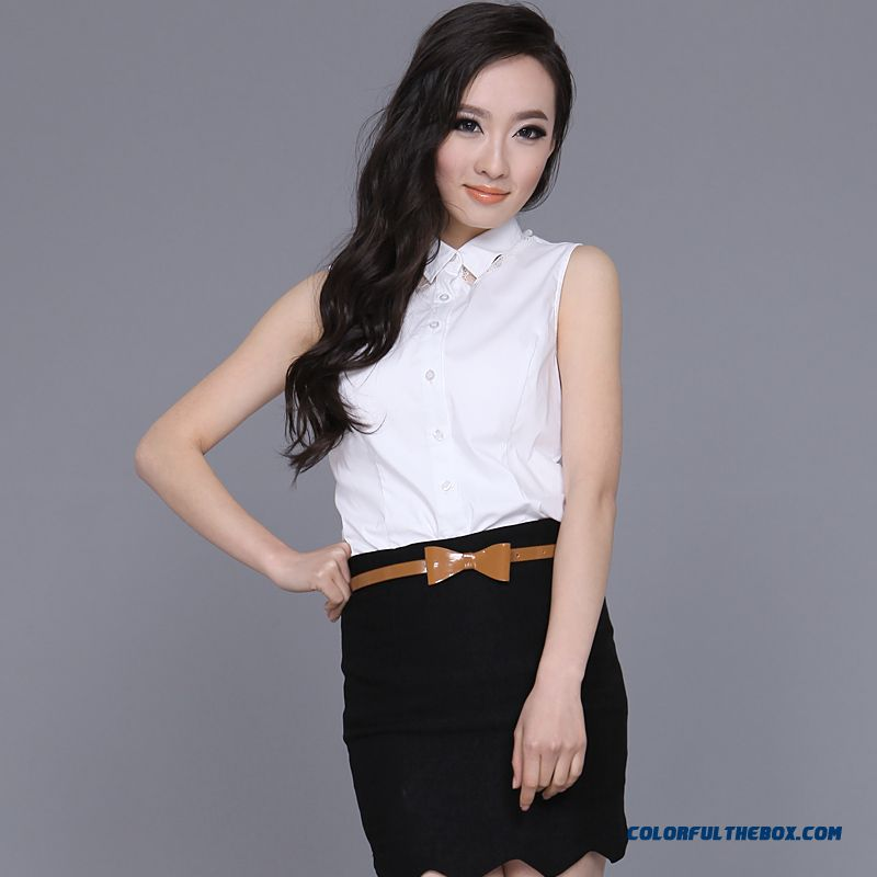 Summer New Women Blouse Stitching Lace Sleeveless Shirts Vogue Slim Blouses