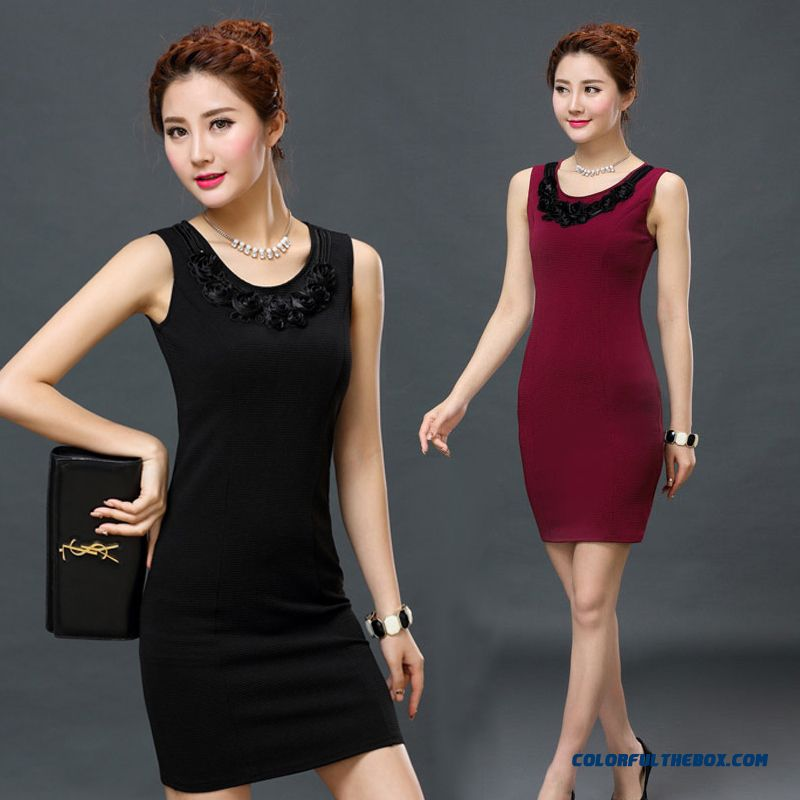 Summer New Women Dress Slim Thin Sleeveless Vest Base Skirt Larde Size