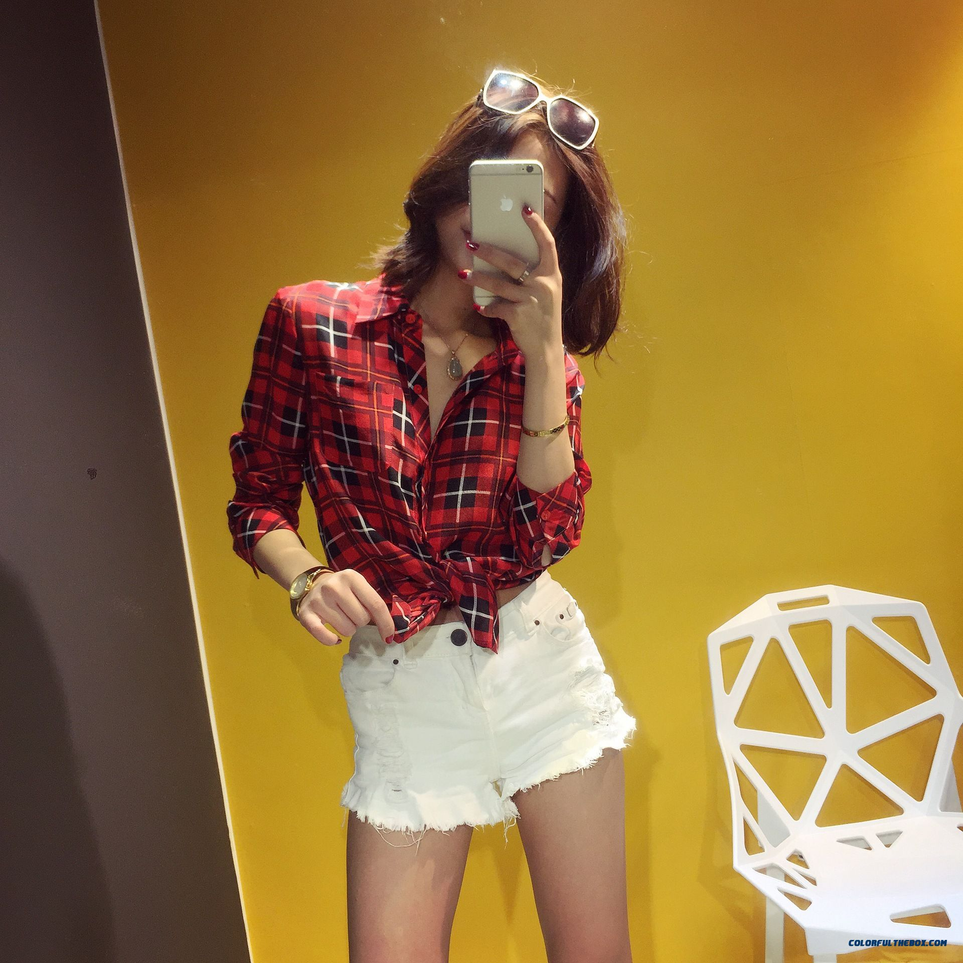 Summer New Women Korean Style Silk Classic Plaid Upscale Boutique Shirt - more images 1