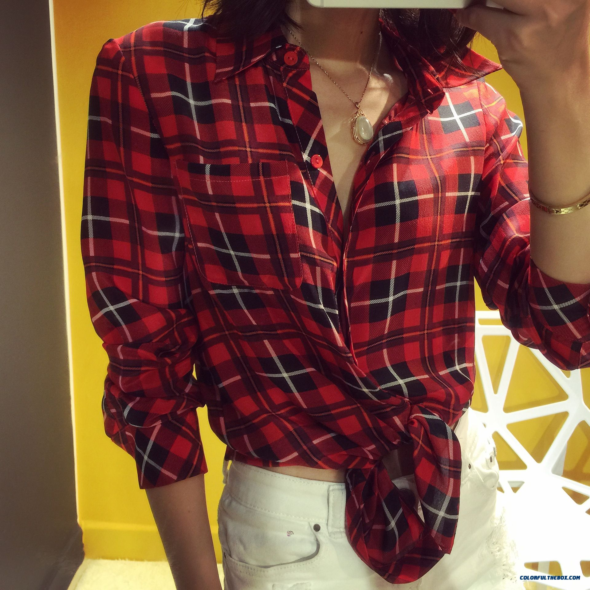 Summer New Women Korean Style Silk Classic Plaid Upscale Boutique Shirt - more images 2
