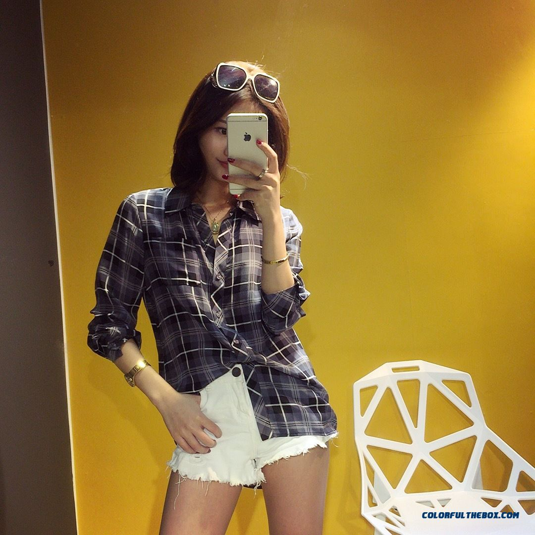 Summer New Women Korean Style Silk Classic Plaid Upscale Boutique Shirt - more images 3