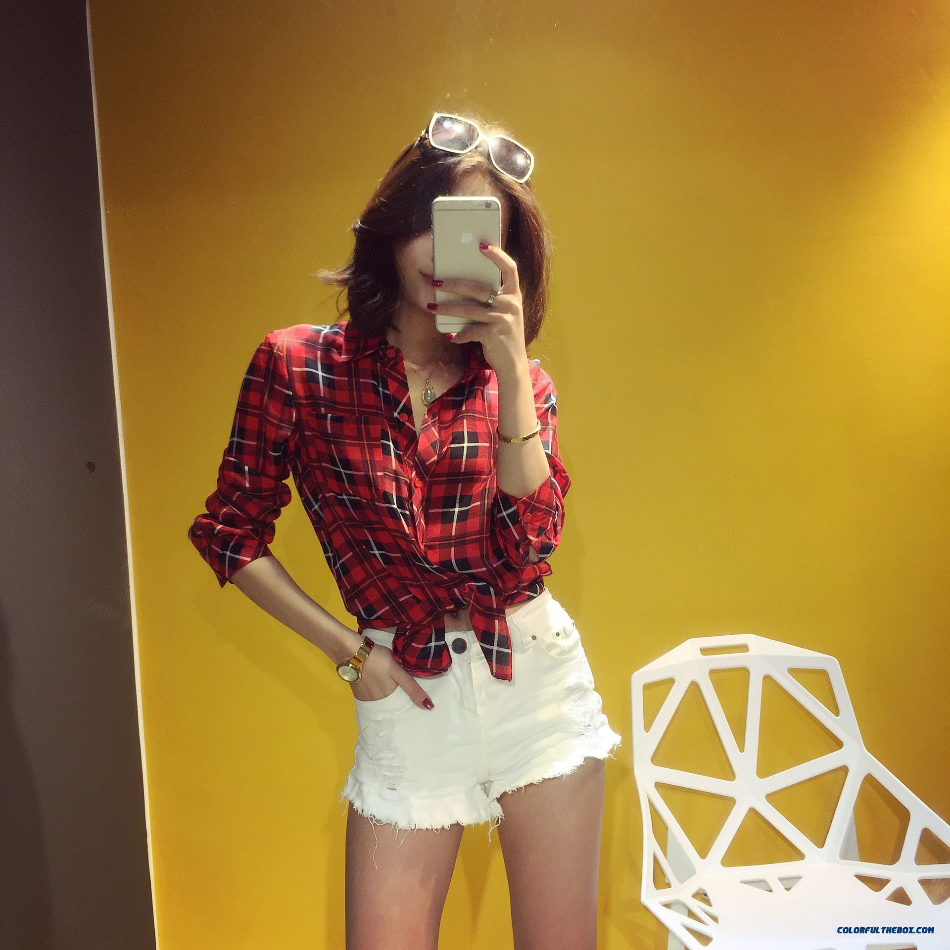 Summer New Women Korean Style Silk Classic Plaid Upscale Boutique Shirt - more images 4