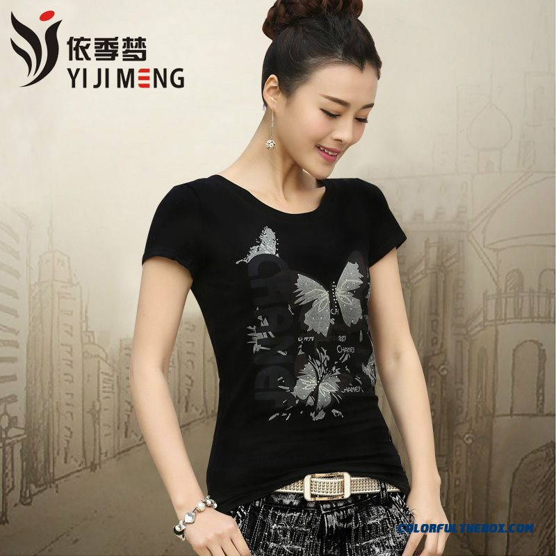 Summer New Women Slim Printed Cotton Short-sleeved With Diamonds T-shirt