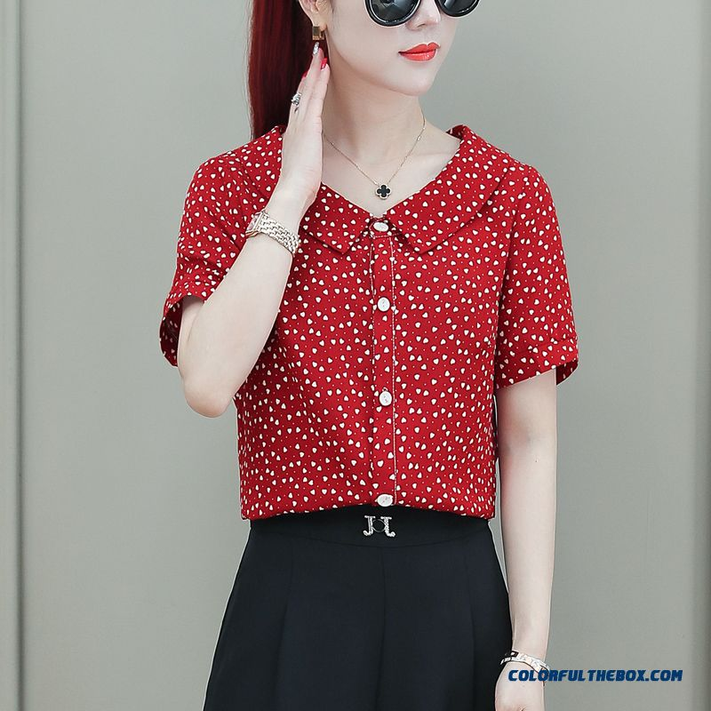 Summer New Women's Coat 2019 Chiffon Short Sleeve Lady All-match Trend Shirt Dark Fashion Red