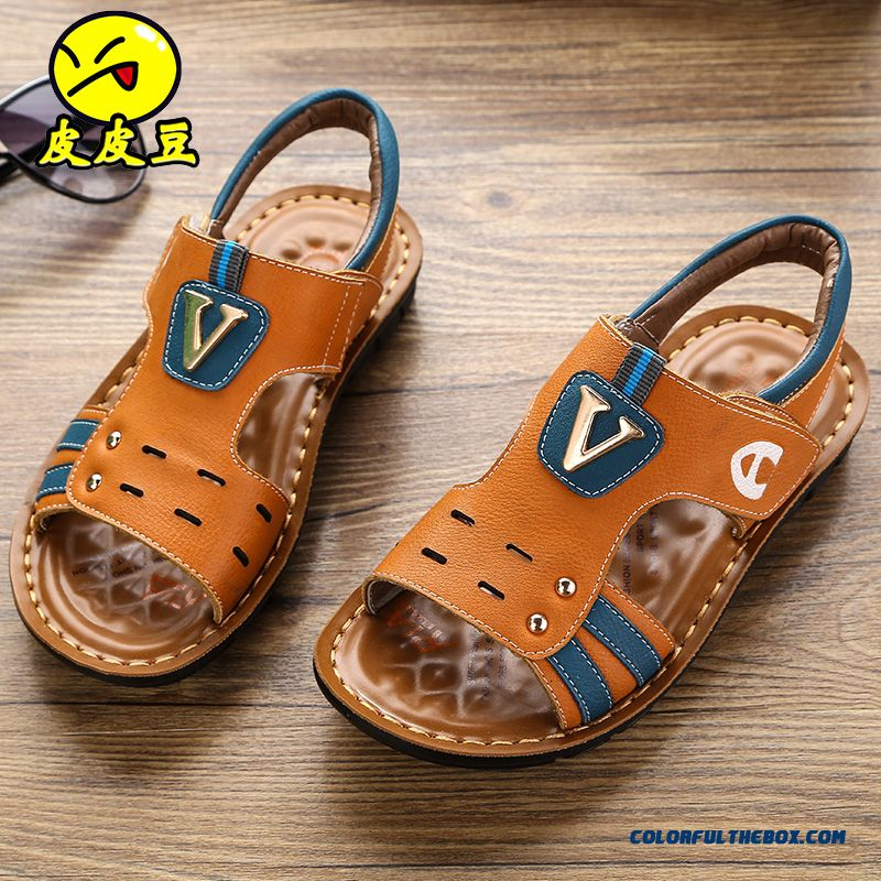 728c3812f ... Summer Open Toe Kids Shoes Velcro Plastic Metal Leather Cheap Sale Boys  Sandals