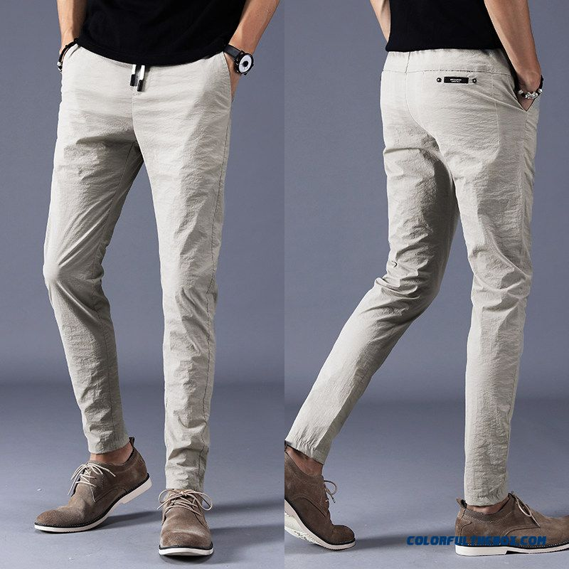 Summer Pants Trousers Suit Men's Ultra Skinny Leisure Slim Khaki