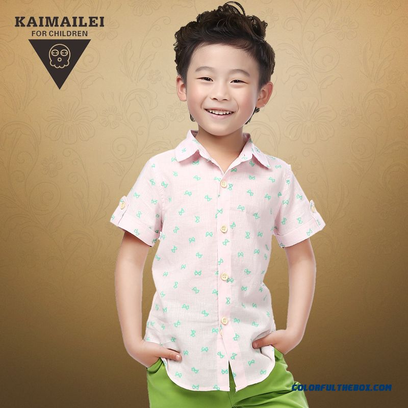 Summer Short-sleeved Multi-style Colors Available Boys Blouses Lapel Shirts