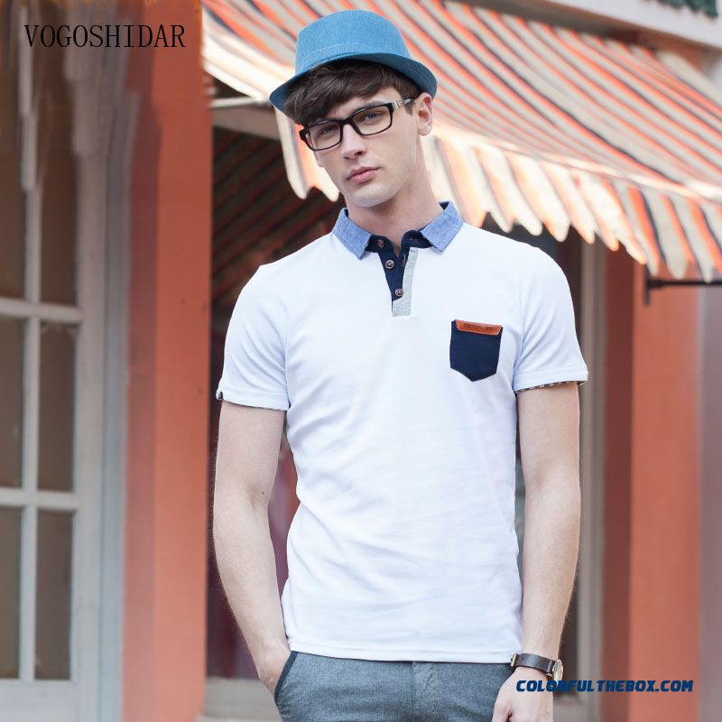 Summer Short sleeved Tees Slim Solid Color Stripes Lapel Men Tide Fashion