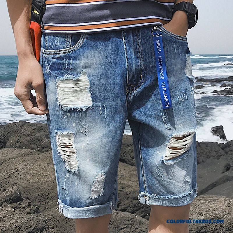 Summer Skinny Hole Shorts Straight Men's Blue Trend Europe Short Pants Loose