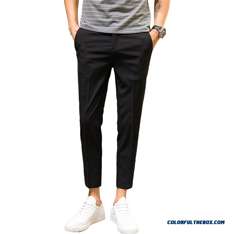 Summer Slim Pants Men's All-match Europe Black Checks Trend Skinny Leisure Straight Ninth Pants