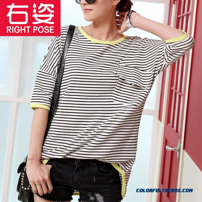 Summer Stripe Loose Short-sleeved T-shirt Women Medium Style Slim Large Size