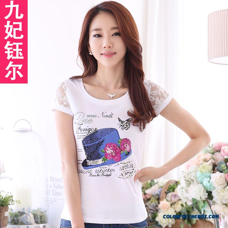 Summer T-shirt Slim Simplicity Spring Summer Women Render Unlined Upper Garment And Thin Cotton Lace