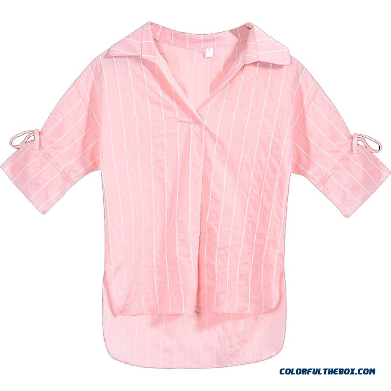 Summer Three Quarter Sleeve Pink Fashion Shirt Coat Women's Horn Chalaza 2019 Stripes Fresh New