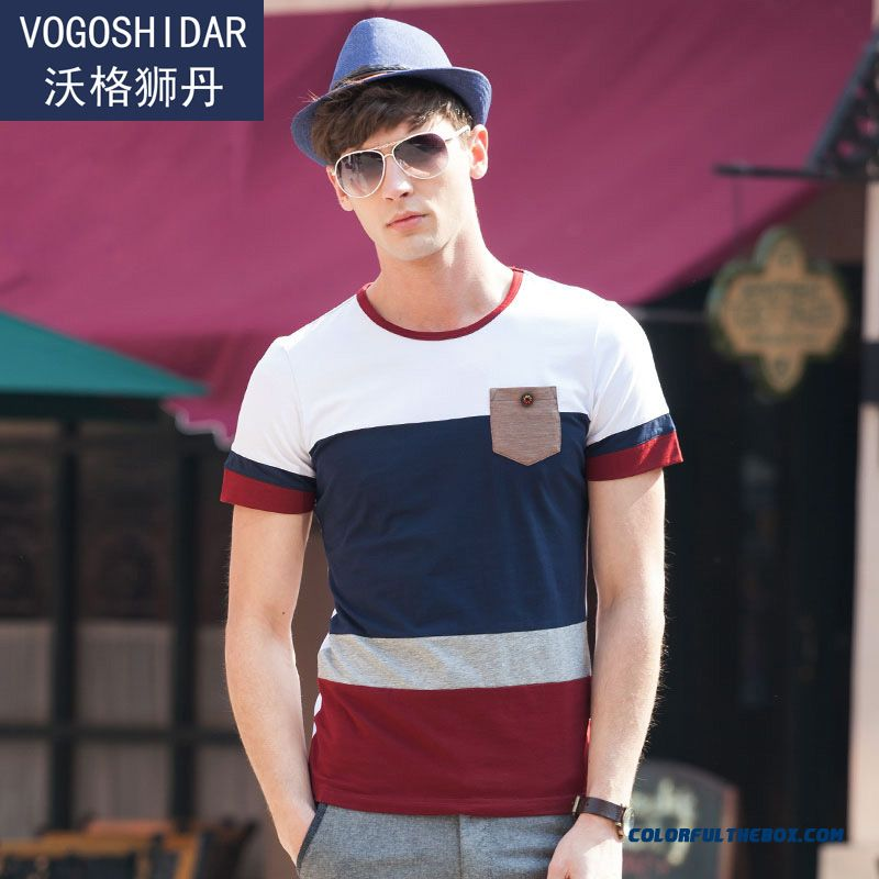 Summer Tide New Slim Solid Color Stripe Crew Neck Short-sleeved Tees Men Fashion