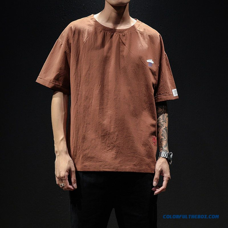 Summer Trend Short Sleeve Loose Brown Men's Embroidered T-shirt