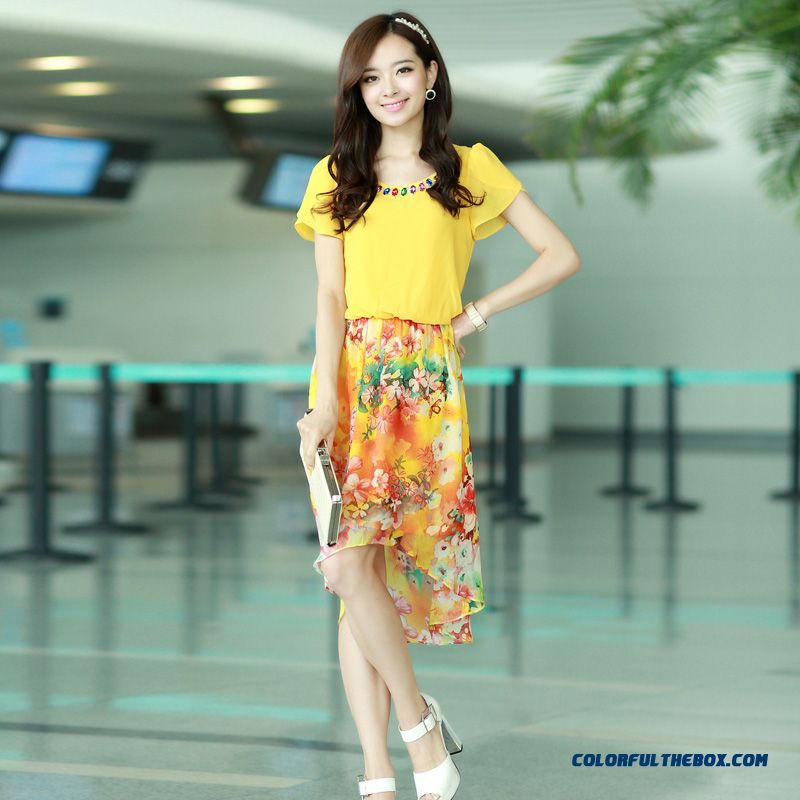 Summer Women Dress Long Stitching Large Size Sweet And Elegant Printed Chiffon - more images 1
