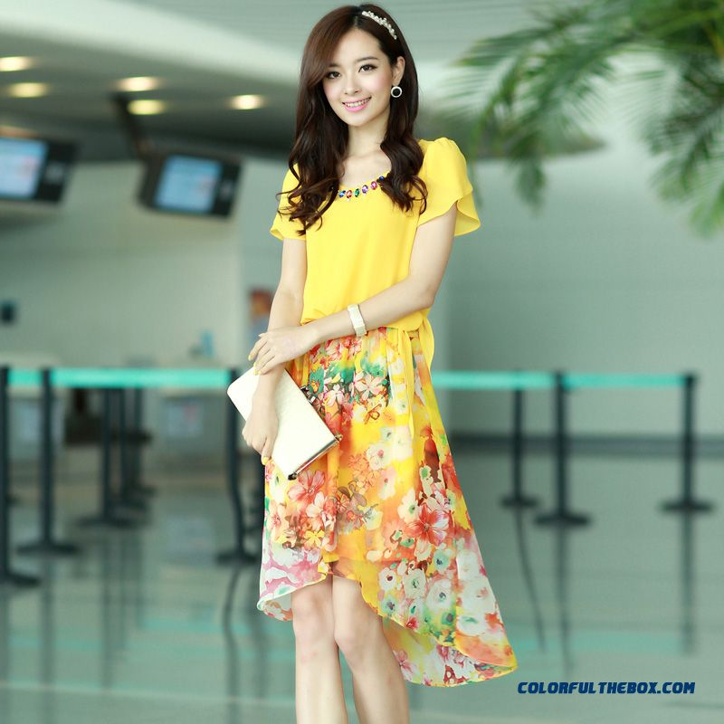 Summer Women Dress Long Stitching Large Size Sweet And Elegant Printed Chiffon - more images 2