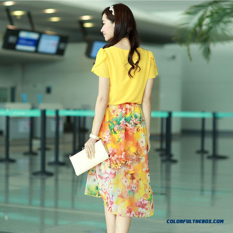 Summer Women Dress Long Stitching Large Size Sweet And Elegant Printed Chiffon - more images 3
