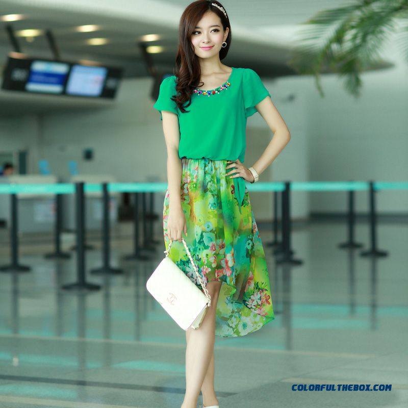 Summer Women Dress Long Stitching Large Size Sweet And Elegant Printed Chiffon - more images 4