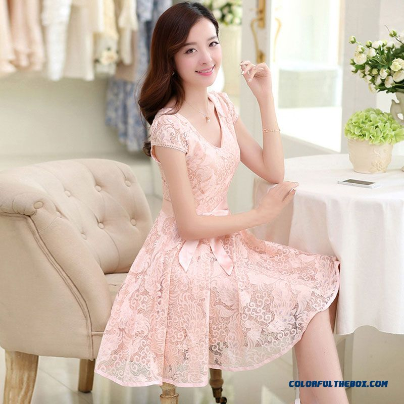 Summer Women Dress Stitching Slim Large Size Long Printed Lace Sweet And Elegant
