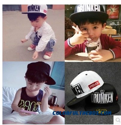 Summerc Crown Hip-hop Along Flat-brimmed Hat Cotton Girls Boys Peaked Cap50-54 Cm Kids' Accessories