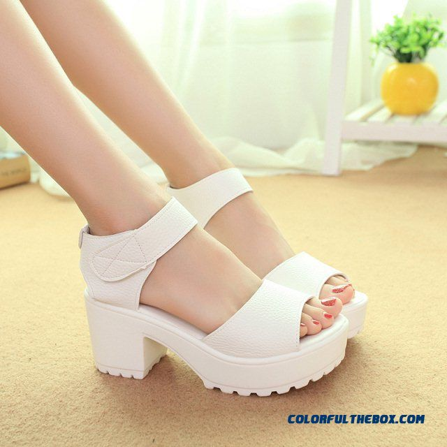 Summernew Women White Thicken Platform Sandals With Thick Heel Waterproof Shoes