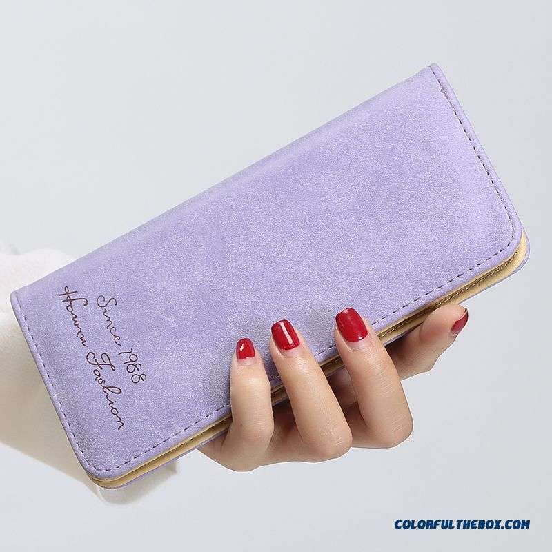 Super Thin Wallet Women Long Card Pack New Nubuck Small Purse Women's Wallet Purple