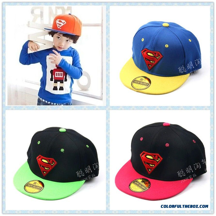 Superman Baseball Cap Spring And Summer Sun Boyskids Hat Children's Flat-brimmed-brimmed Hat Popular