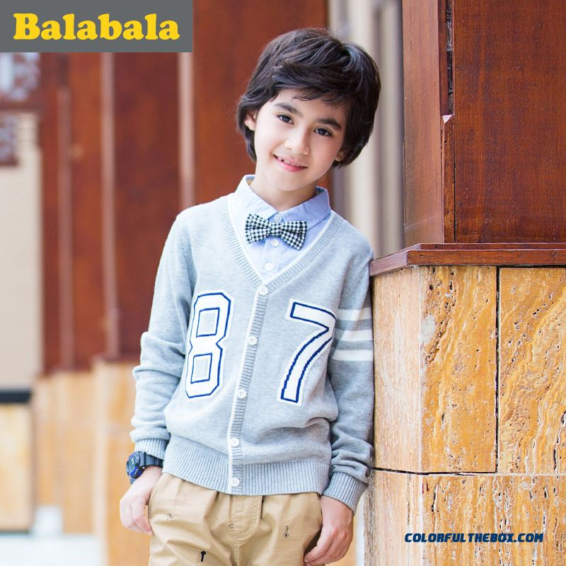 Sweater 2016 Spring New Kids' Fake Two-piece Of Buttons Cardigan Sweaters For Boys