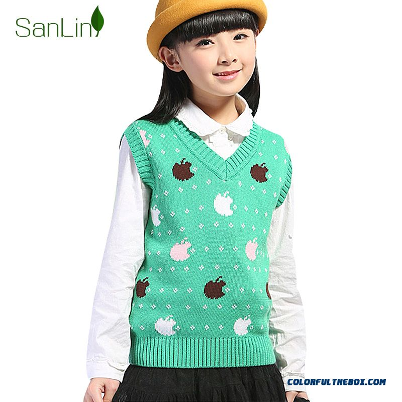 Sweater Pullover Sweater Vest Cotton Sleeveless Vest Bottoming Shirt For Girls Kids Clothing