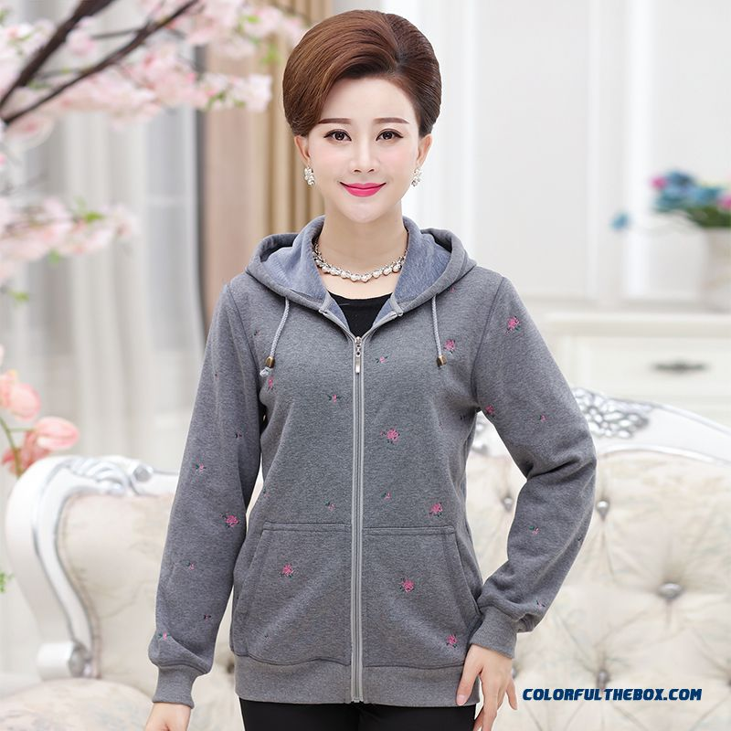 Sweatshirts Middle Age Mother Dclothing Padded Coats Warm Hooded Jacket For Middle Age Women