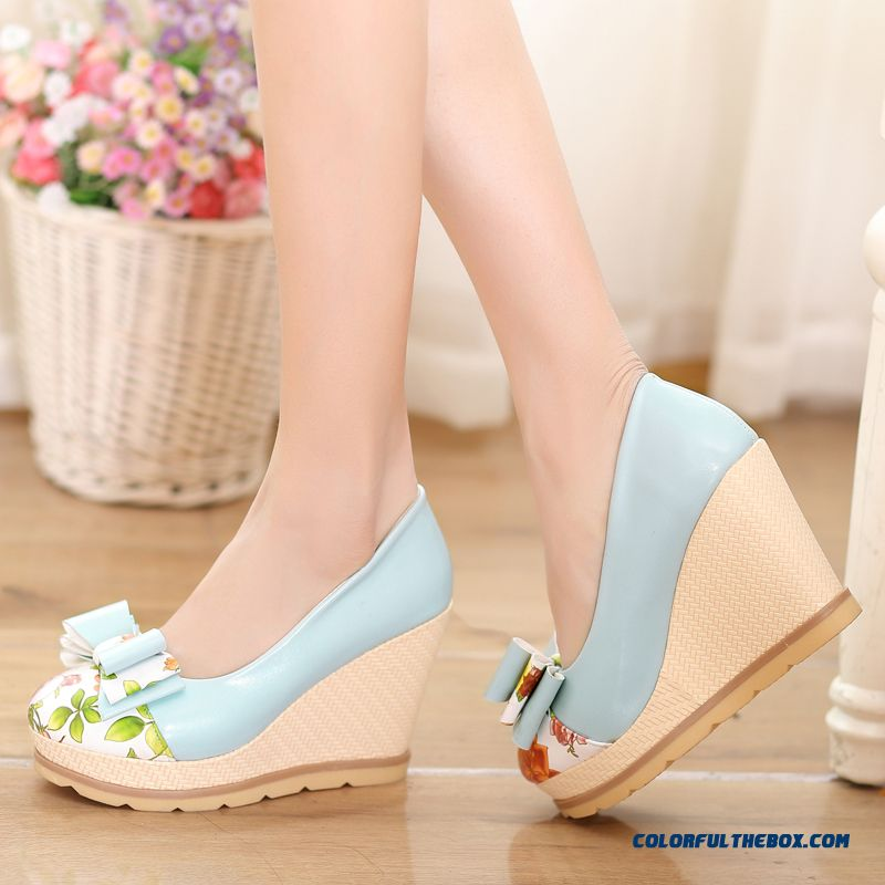 Sweet Comfort Wedge Heel Shallow Mouth Waterproof Bottom High Heels Women Pumps