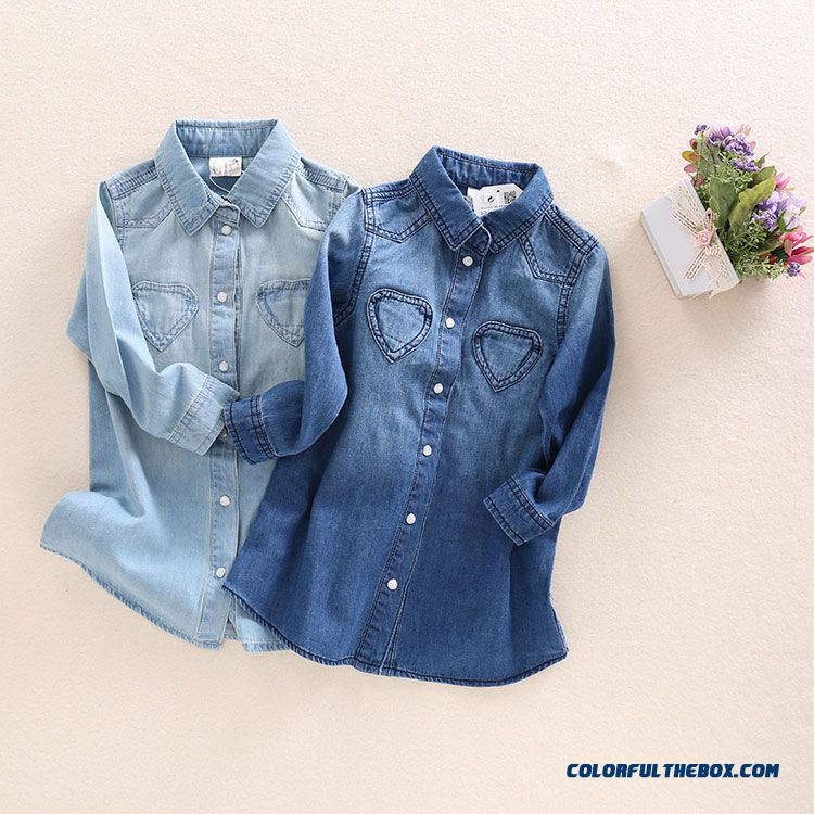 Sweet Comfortable Long Denim Shirt Lapel Irregular Hem Baby Long-sleeved Shirt