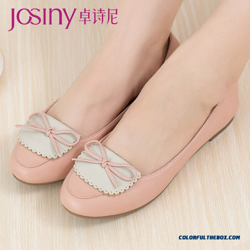 Sweet Flats Women Shoes New Shallow Mouth Round-toe Boe-tie Decorative