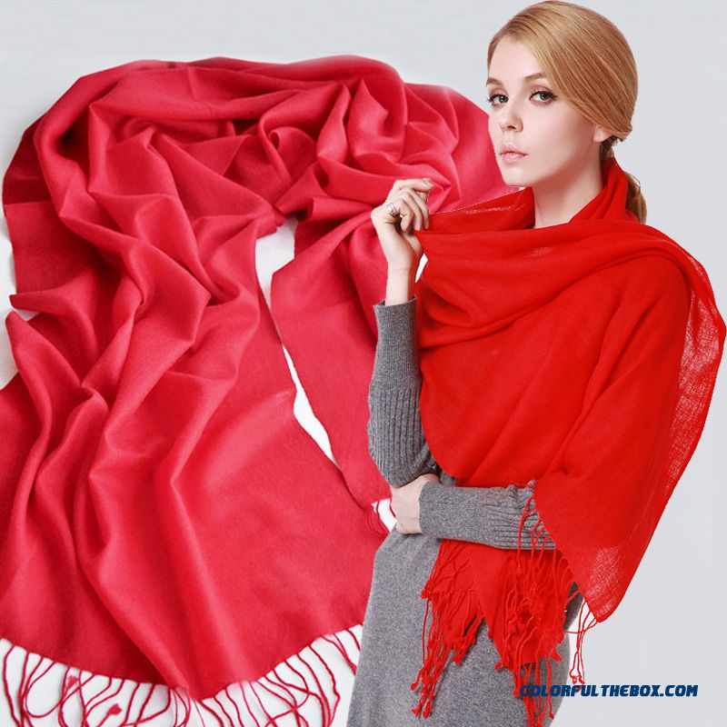 Sweet Joker Solid Color Pure Wool Scarf Women Warm Shawl Fringed Scarves Multicolor