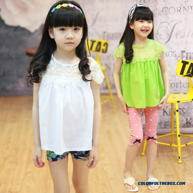 Sweet Lace Stitching Blouses Girls's Clothing Baby Shirts Short-sleeved Kids Shirt Pullovers