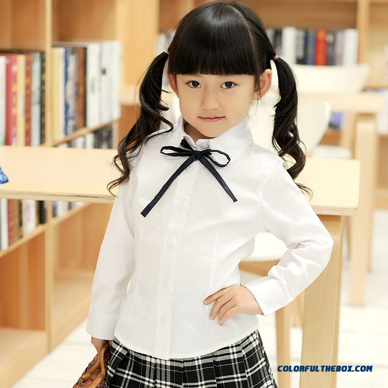 Sweet Long-sleeved Lapel Shirt Girls College Style Pure Cotton White