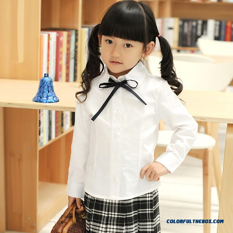 Sweet Long-sleeved Lapel Shirt Girls College Style Pure Cotton White - more images 3