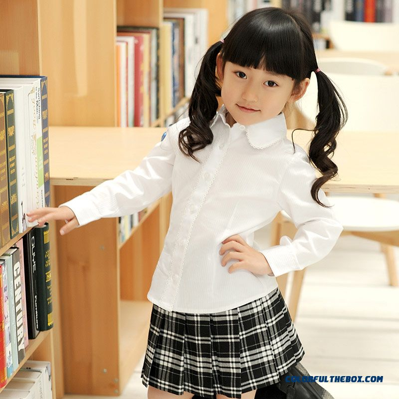 Sweet Long-sleeved Lapel Shirt Girls College Style Pure Cotton White - more images 4