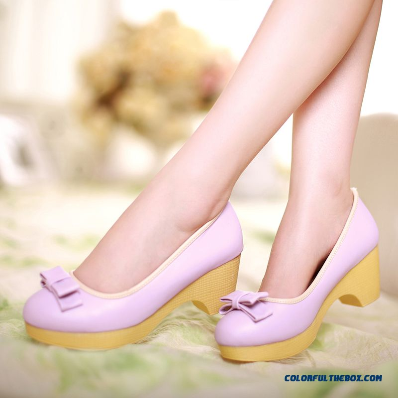 Sweet Pumps Rough Heel Shallow Mouth Butterfly Knot Decorative Women Shoes