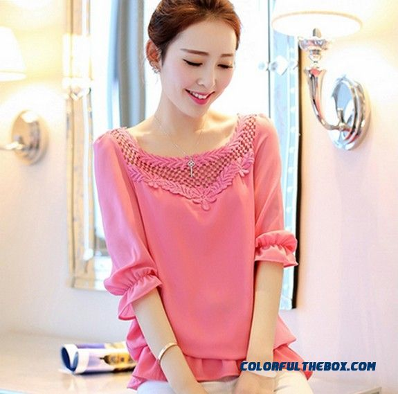 Sweet Temperament Hollow Loose Chiffon Shirt Women's Blouses